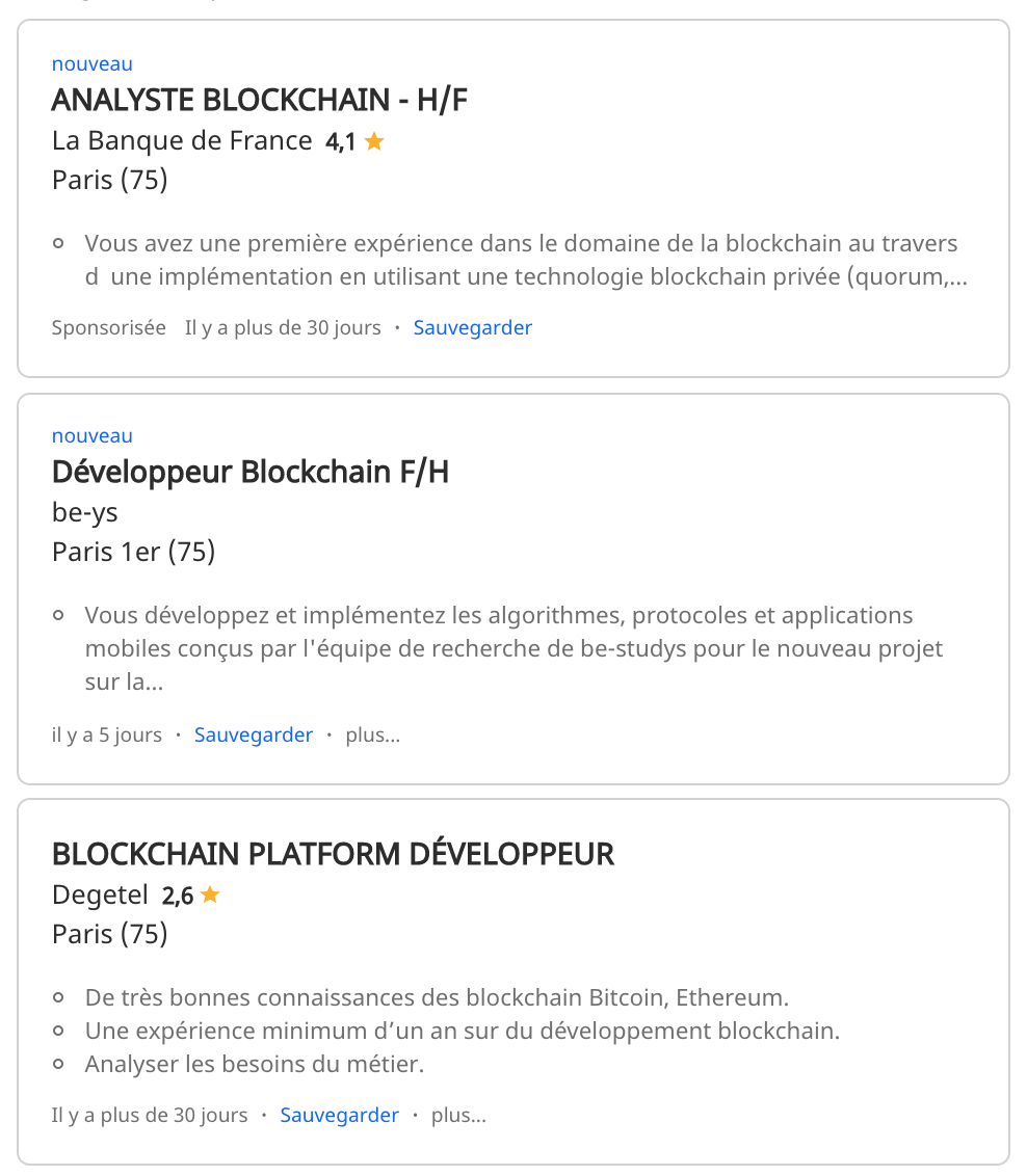 Blockchain jobs search results